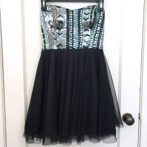 Strapless Tulle Flare Sequin Homecoming Dress